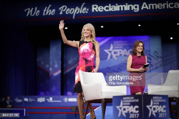 White House Counselor to the President Kellyanne Conway takes the stage with Mercedes Schlapp during the first day of the Conservative Political...