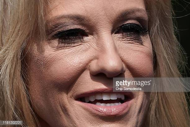 White House Counselor to the President Kellyanne Conway talks to reporters following an interview with FOX News outside the West Wing May 23 2019 in...