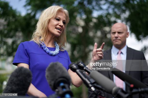 White House Counselor to the President Kellyanne Conway talks to reporters following an interview with FOX News with Vice President Mike Pence's...