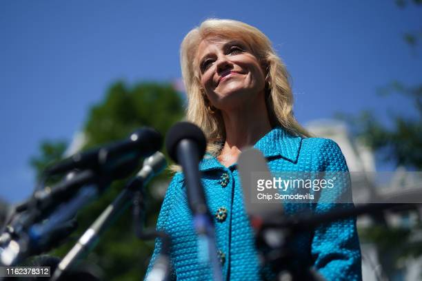 White House Counselor to the President Kellyanne Conway talks to reporters outside of the West Wing July 16 2019 in Washington DC Conway defended US...