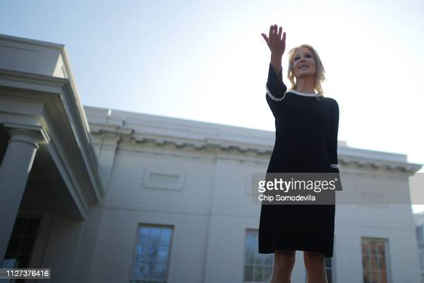 White House Counselor to the President Kellyanne Conway talks to journalists outside the West Wing at the White House February 04 2019 in Washington...