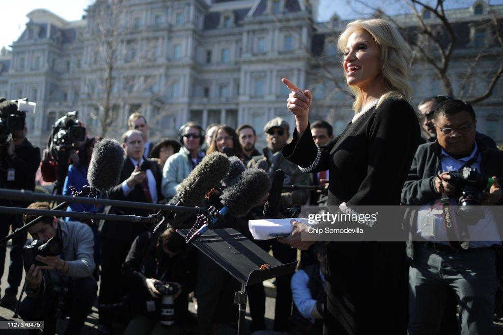 White House Advisor Kellyanne Conway Speaks To Media At The White House : News Photo