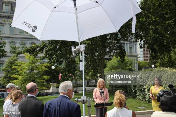 White House Counselor to the President Kellyanne Conway talks to reporters outside the West Wing of the White House on August 21, 2020 in Washington,...