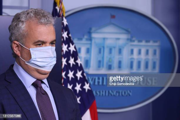 White House COVID-19 Response Coordinator Jeff Zients talks to reporters in the Brady Press Briefing Room at the White House on April 13, 2021 in...