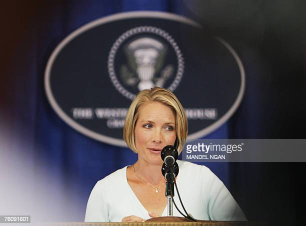 White House Deptuty Press Secretary Dana Perino speaks 14 August 2007 during a press briefing at the press filing center in Crawford Texas US...