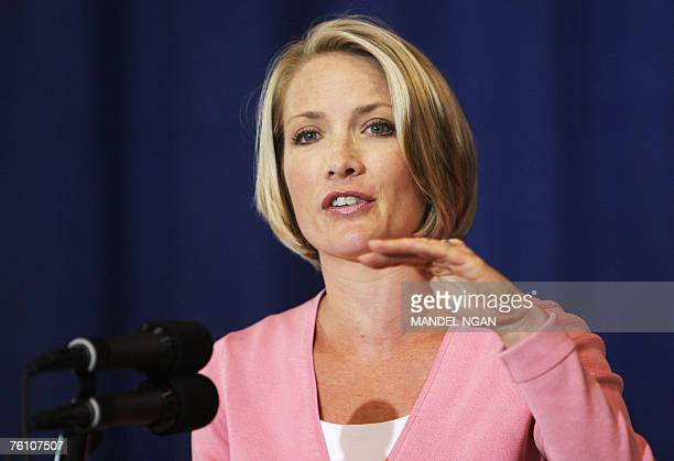 White House Deptuty Press Secretary Dana Perino speaks 15 August 2007 during a press briefing at the press filing center in Crawford Texas The White...