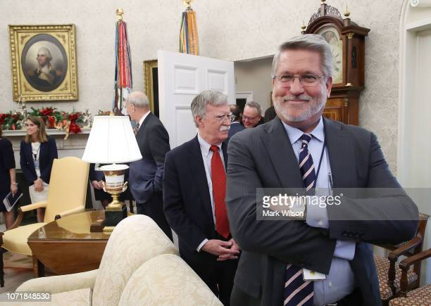 White House deputy Chief of Staff for Communications Bill Shine attends a meeting in the Oval Office where US President Donald Trump signed HR 390...