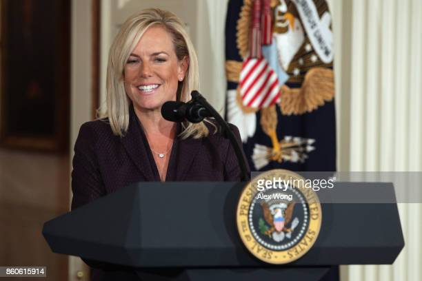 White House Deputy Chief of Staff Kirstjen Nielsen speaks during a nomination announcement at the East Room of the White House October 12 2017 in...