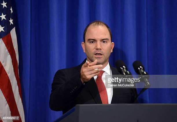 White House Deputy National Security Advisor Ben Rhodes addresses the media at the Edgartown School on August 22 2014 in Edgartown Martha's Vineyard...