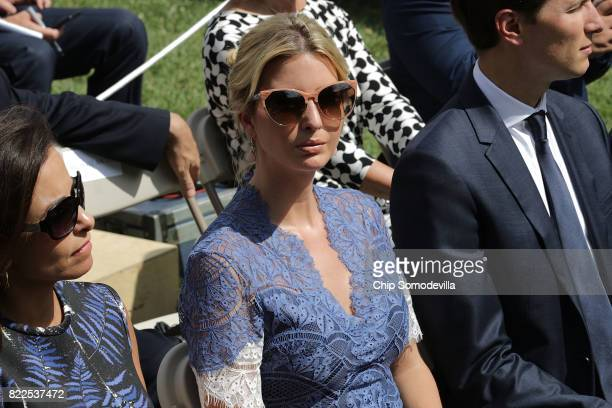 White House Deputy National Security Advisor Dina Powell Ivanka Trump and Senior Advisor to the President Jared Kushner attend a news conference with...