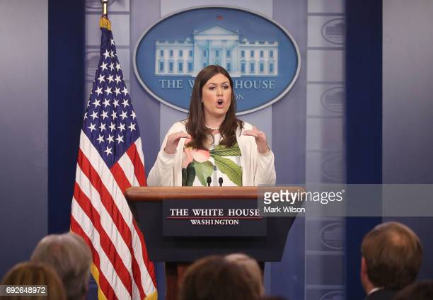 White House deputy press secretary Sarah Huckabee Sanders speaks during a press briefing on June 5 2017 in Washington DC Sanders said President Trump...