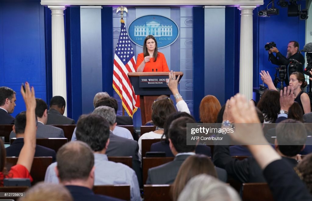 White House Deputy Press Secretary Sarah Huckabee Sanders speaks in the Brady Briefing Room of the White House on July 11, 2017 in Washington, DC. /