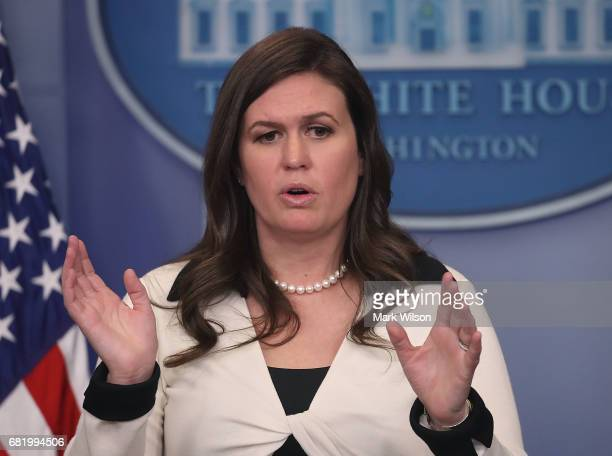 White House deputy press secretary Sarah Huckabee Sanders speaks during press briefing on May 11 2017 in Washington DC Sanders fielded questions...