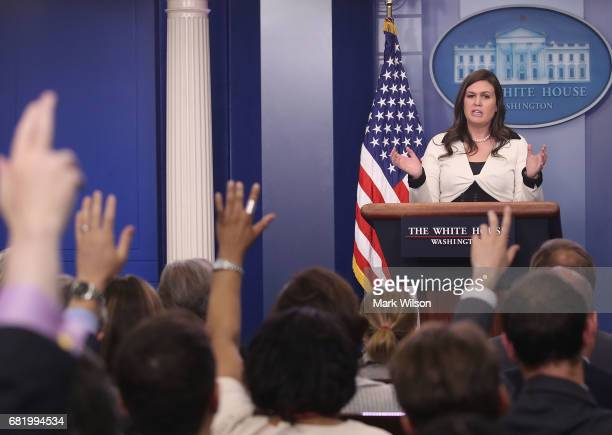White House deputy press secretary Sarah Huckabee Sanders speaks during press briefing on May 11 2017 in Washington DC Sanders fielded questions...