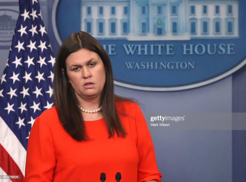 White House Deputy Press Secretary Sarah Huckabee Sanders speaks during the press briefing on July 11, 2017 in Washington, DC. Sanders fielded questions regarding President Donald Trump's eldest son Donald Trump Jr. and his meeting with a Russian lawyer.