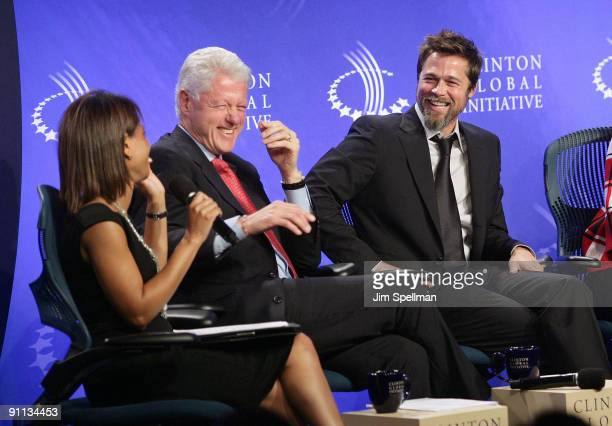 White House Director of Domestic Policy Council Melody Barnes President Bill Clinton and Actor Brad Pitt attend the 2009 Clinton Global Initiative...