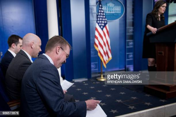 White House Director of Legislative Affairs Marc Short and Office of Management and Budget Director Mick Mulvaney wait speak about the Consolidated...