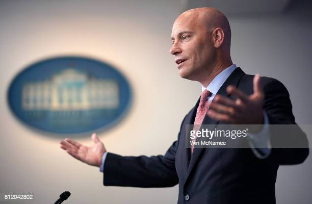 White House Director of Legislative Affairs Marc Short answers questions during a press briefing at the White House on July 10 2017 in Washington DC...
