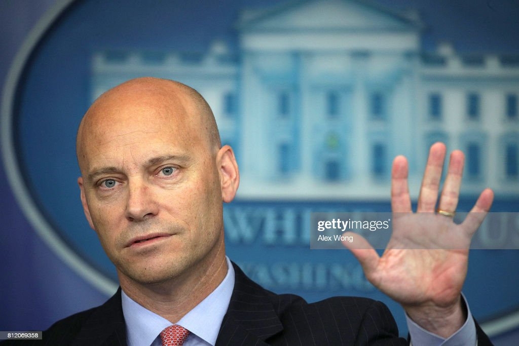 White House Director of Legislative Affairs Marc Short gestures as he speaks during a White House daily briefing at the James Brady Press Briefing Room of the White House July 10, 2017 in Washington, DC. Huckabee Sanders held a daily briefing to answer questions from members of the White House press corps.
