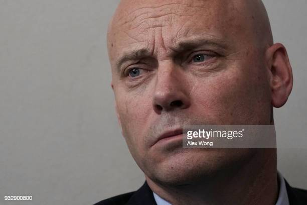 White House Director of Legislative Affairs Marc Short listens during a White House daily briefing at the James Brady Press Briefing Room of the...