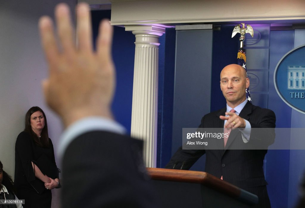 White House Director of Legislative Affairs Marc Short (R) speaks as Principal Deputy White House Press Secretary Sarah Huckabee Sanders (L) looks on during a White House daily briefing at the James Brady Press Briefing Room of the White House July 10, 2017 in Washington, DC. Huckabee Sanders held a daily briefing to answer questions from members of the White House press corps.