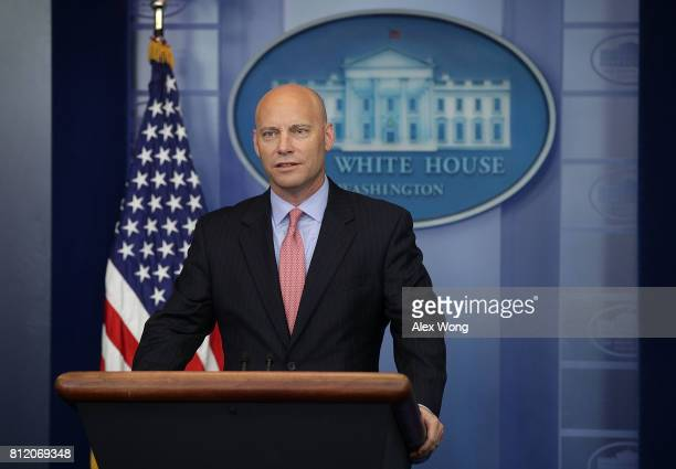 White House Director of Legislative Affairs Marc Short speaks during a White House daily briefing at the James Brady Press Briefing Room of the White...
