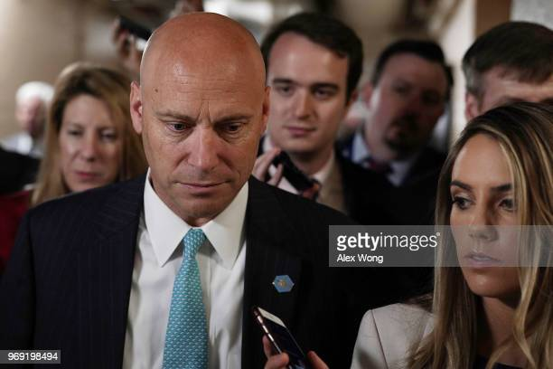White House Director of Legislative Affairs Marc Short speaks to members of the media as he leaves a Republican conference meeting June 7 2018 on...