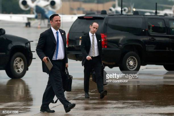 White House Director of Social Media Dan Scavino and Senior Policy Advisor Stephen Miller arrive with US President Donald Trump at Joint Andrews Air...