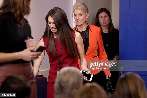 White House Director of Strategic Communications Hope Hicks and Counselor to the President Kellyanne Conway arrive for the daily press briefing in...