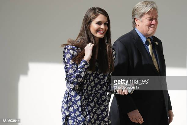 White House Director of Strategic Communications Hope Hicks and Senior Counselor to the President and White House Chief Strategist Steve Bannon walk...