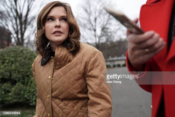 White House Director of Strategic Communications Mercedes Schlapp speaks to members of the media on the driveway outside the West Wing of the White...