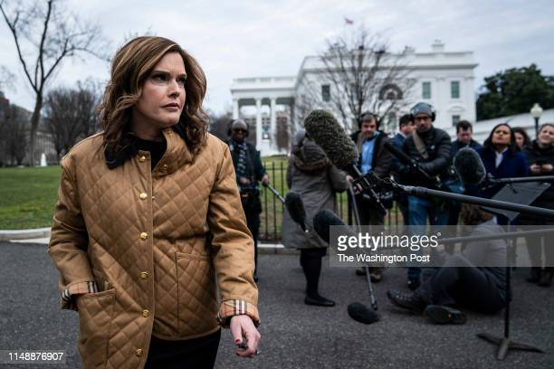White House Director of Strategic Communications Mercedes Schlapp speaks to reporters and members of the media outside of the West Wing at the White...