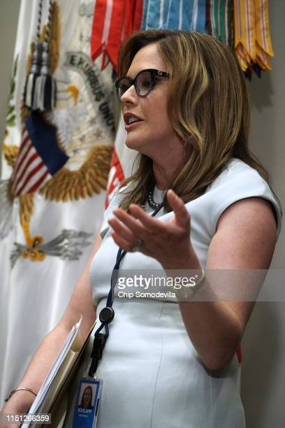 White House Director of Strategic Communications Mercedes Schlapp attests to President Donald Trump's demeanor during a Wednesday meeting with...