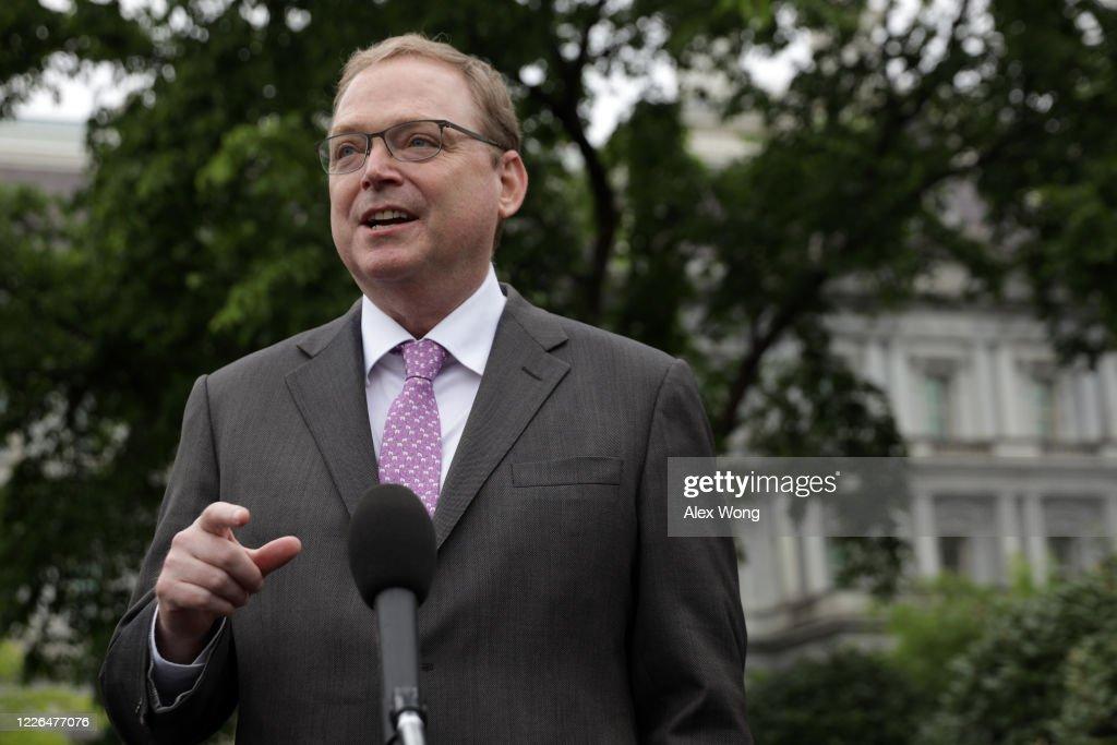White House Economic Adviser Kevin Hassett Speaks To The Media At The White House : News Photo