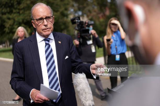 White House Economic Adviser Larry Kudlow speaks to members of the press outside the West Wing of the White House September 16, 2020 in Washington,...