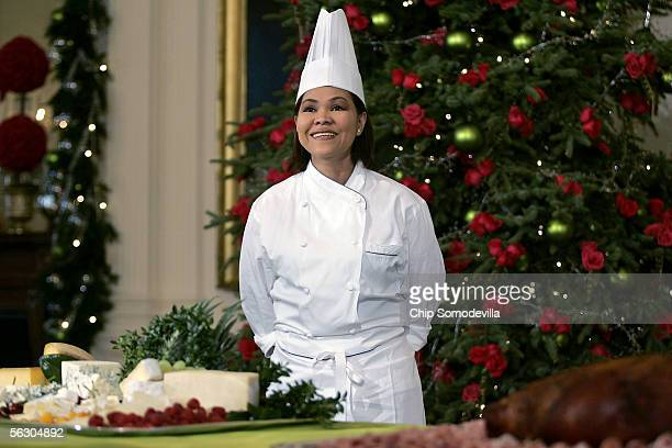 White House Executive Chef Cristeta Comerford answers questions about the holiday menu during a media preview of the 2005 holiday decorations and...