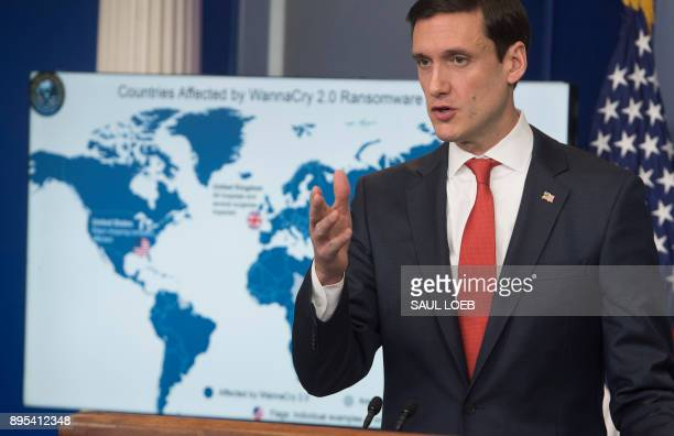 White House homeland security adviser Tom Bossert speaks about the Wannacry virus as he announces that the US believes North Korea was behind the...