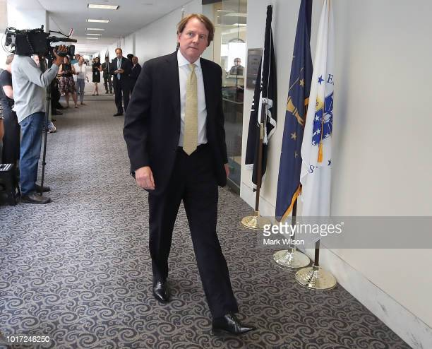 White House lawyer Don McGahn escorts Supreme Court Justice nominee Judge Brett Kavanaugh to a meeting with Sen Joe Donnelly on August 15 2018 in...