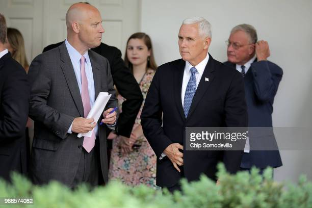 White House Legislative Affairs Director Marc Short and Vice President Mike Pence arrive for a signing ceremony for the Veterans Affairs Mission Act...