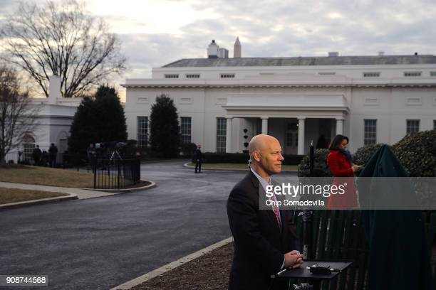 White House Legislative Affairs Director Marc Short is interviewed on television about the ongoing partial federal government shutdown outside the...