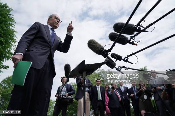 White House National Economic Council Director Larry Kudlow talks to reporters following television interviews outside the White House April 29 2019...