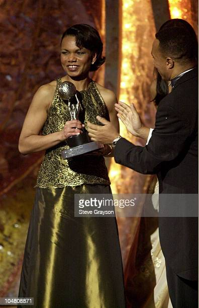 White House National Security Advisor Condoleezza Rice receives the President's Award from Kweisi Mfume at the 33rd NAACP Image Awards at the...