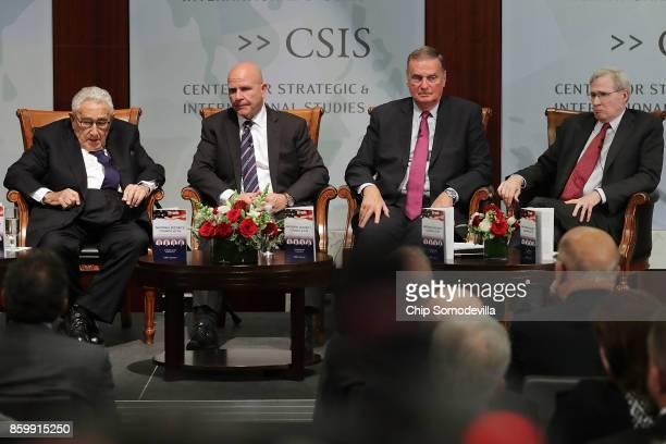 White House National Security Advisor HR McMaster and former National Security Advisors Henry Kissinger James Jones Jr and Stephen Hadley participate...