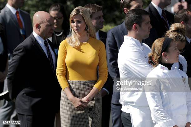White House National Security Advisor HR McMaster and Ivanka Trump are joined by White House staff as they prepare to observe a moment of silence on...