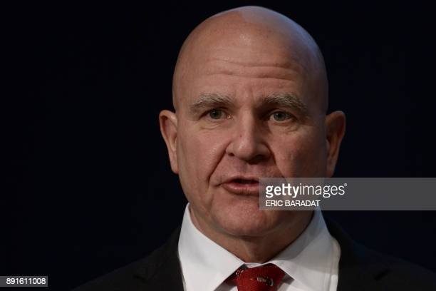 White House National Security Advisor HR McMaster gives a key note speech in front of the Jamestown Foundation on December 13 2017 in WashingtonDC /...