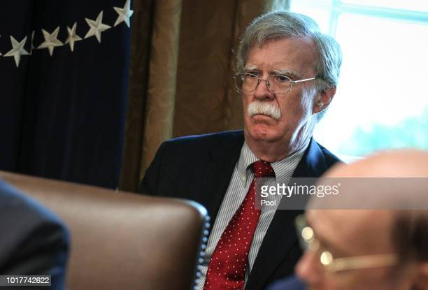 White House National Security Advisor John Bolton attends a Cabinet Meeting in the Cabinet Room of the White House on August 16 2018 in Washington DC