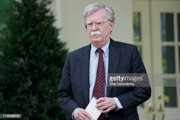 White House National Security Advisor John Bolton talks to reporters outside of the White House West Wing April 30 2019 in Washington DC Bolton...