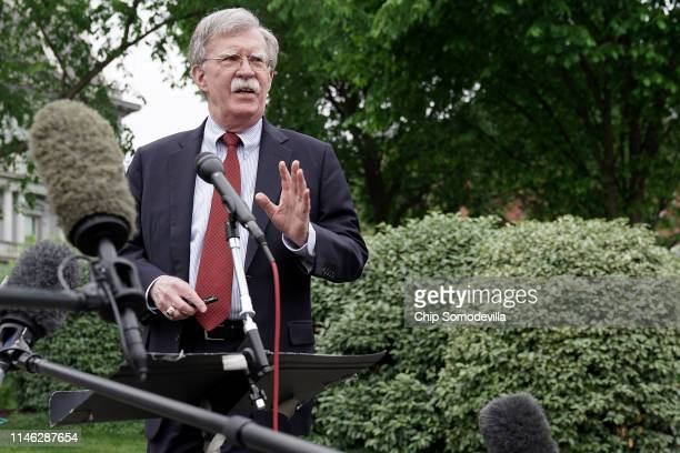 White House National Security Advisor John Bolton talks to reporters following a television interview outside the West Wing May 01, 2019 in...