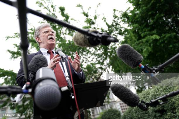 White House National Security Advisor John Bolton talks to reporters following a television interview outside the West Wing May 01 2019 in Washington...
