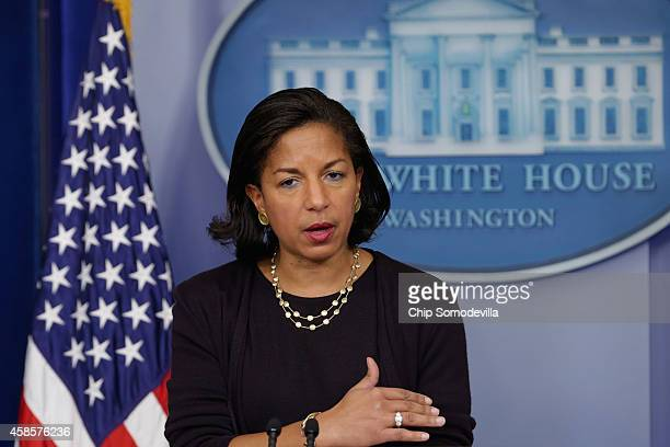 White House National Security Advisor Susan Rice talks to reporters about President Barack Obama's upcoming trip to Asia in the Brady Press Briefing...